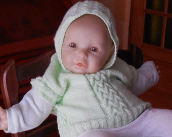 SWEATER without sleeve for baby - hooded - nice game of twist