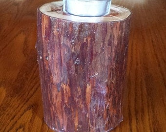 Redwood Tealight Candle Holder 5 Inch Tall