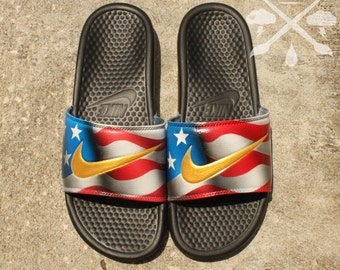 new styles b27d3 331eb Nike custom galaxy benassi swoosh slide sandals flip flops nwt jpg 340x270 Custom  slides nike shoes