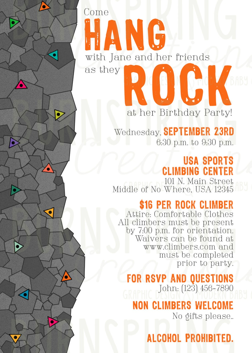 Wall Stickers Design Your Own Rock Climbing Invitation