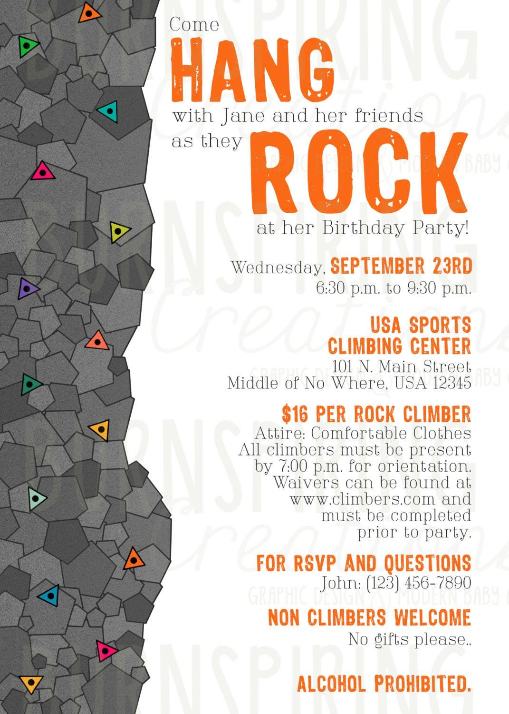 Rock Climbing Birthday Party Invitations Free