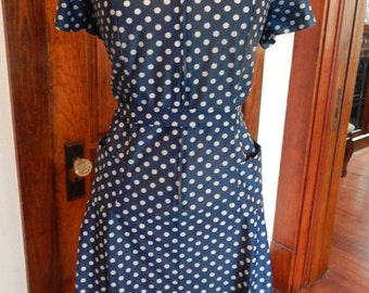 Navy dress with white polka dots