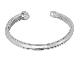 Sterling Silver .925 Plain Bead Ear Cuff Clip-on Adjustable Oxidized | Made In USA