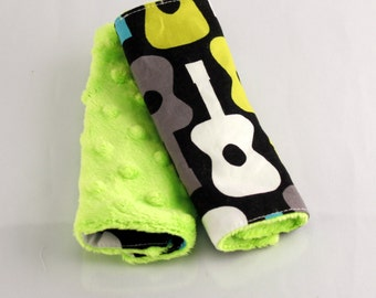 Carseat Strap Covers in Groovy Guitars and Lime Minky