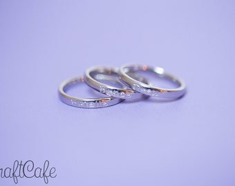 Hand Stamped Simple Single Name Mother's Ring - Set of Three - Stainless Steel Stacking Ring - 3mm - Hand Stamped Jewelry