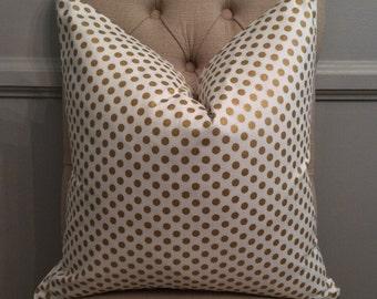 Handmade Decorative Pillow Cover - Gold - Metallic - Polka Dot