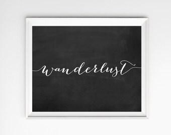 Chalkboard Print, Wanderlust Poster, Art, Chalk board, Wall Art, Inspirational Art, Wall Art Prints, Chalkboard Sign, Chalk, Quote Prints
