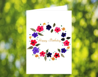 Floral Wreath Birthday Card Download: Watercolor Flower Wreath Birthday Card - Digital Download - Downloadable Card - Birthday Card Mom Her