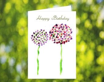 Alium Birthday Card Download: Watercolor Birthday Card - Happy Birthday Card - Pink and Purple Flowers - Printable Card - Birthday Card Her