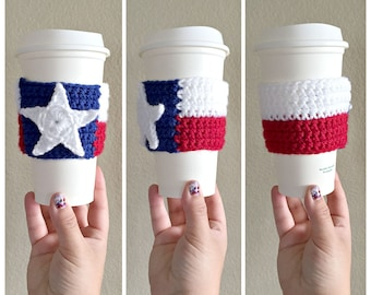 Texas Flag Cup Sleeve - Crochet Cup Cozy - Coffee Cup Cozy - Texas Flag - Texas Pride - Texas Made - Knit Cozy - Texas Knit Sleeve