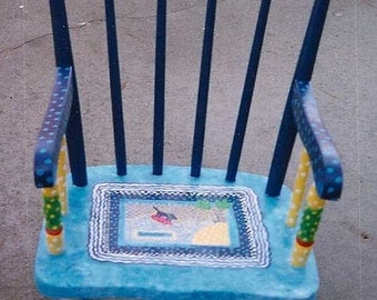 Spot Surfing Rocking Chair, hand painted child's rocking chair