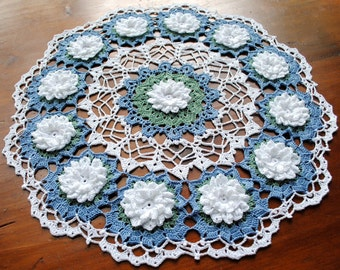 Water Lily Doily, Handmade, 14 1/4""