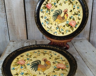 Rooster Plates, Rooster Painting, Rooster Decor, Rooster Kitchen Decor, Farm Animals, Farm House Decor, Country Kitchen, Rustic, Wall Plates