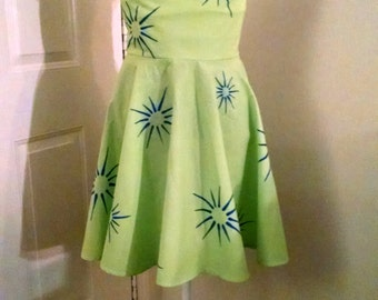 Joy from Inside Out Dress, Girls Sizes, Green Dress, Happy, Fireworks, Green and blue dress.