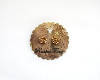 Mini Rose Earrings, Gold Rose Earrings, Fall Fashion 2015, Rustic, Boho, Gift, Gold Leaf, Handpainted