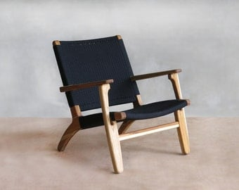 Danish Modern Furniture, Black Chair, Mid Century Modern, Arm Chair, Handwoven Seat, Teak Wood, Sustainably Sourced, Tropical Hardwood Chair