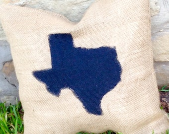 "State of Texas ""Front Porch"" Burlap Pillow - Outdoor Decor"