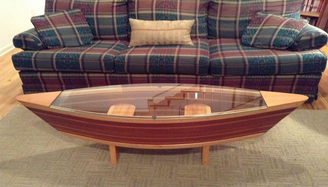 Handmade Canoe Shaped Glass Top Boat Shelf By