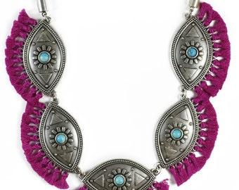 Evil Eye statement fringe necklace