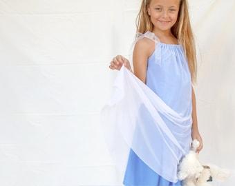 Lavender tulle dress for girls - Light blue party dress for girls - double layer dress for toddler girls