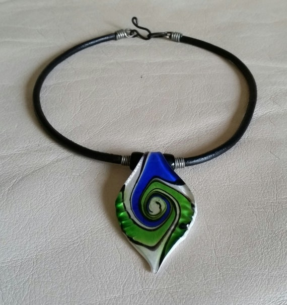 SPIRAL DROP PENDANT on Leather Cord. Cobalt Blue and Lime Green on White. Murano Fused Glass. 15 Inch Length for Small Neck Size.