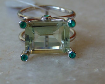 green amethyst ring with emerald in 925 sterling silver
