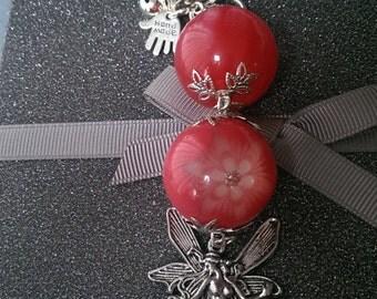 Resin Pink Flower and Fairy Bagcharm/Keyring