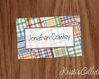 Boys Bag Tag, Personalized Preppy Madras Luggage Backpack Diaper Sports Bag Tag, Boys Book Bag Tags, Preppy Gifts
