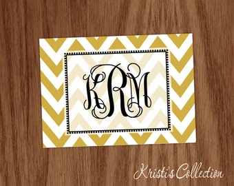 Chevron Note Card Notecard Set Girls Ladies Personal Monogrammed Stationery Stationary - Personalized Custom Folded Thank You Note Cards