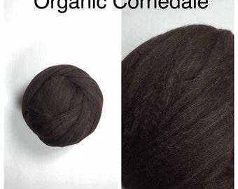 Organic Corriedale Roving / Dark Brown Corriedale Top / Spinning Fiber / Felting Fiber / 2oz 4oz 8oz