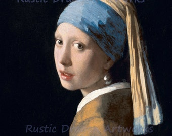 "Johannes Vermeer ""Girl with a Pearl Earring"" Reproduction Digital Print Girl with headscarf and Pearl Earring"