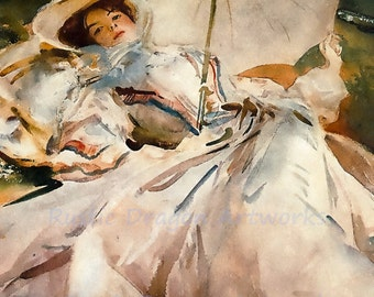 "John Singer Sargent ""Lady with Parasole"" 1900  Reproduction Print Watercolor Woman in 1900's Clothing Umbrella  Wall Hanging"