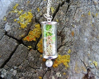 Glass tube necklace, glass tube jewelry, test tube jewelry, glass vial necklace, natural necklace, curved bar necklace, terrarium necklace.