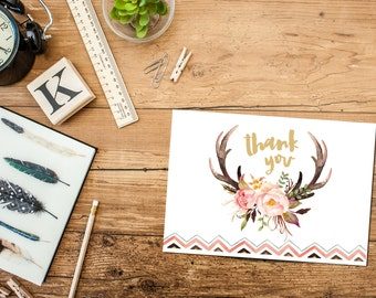 Antler Thank You Card Printable Instant Download, Floral Matching Bridal Shower Thank Yous, Watercolor, Fall Wedding, DIY Thanks