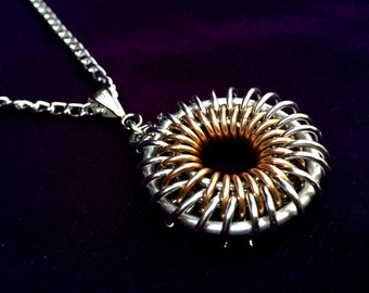 Steampunk Chainmaille Pendant - Aluminum & Copper - Sunburst - Chainmail Jewelry