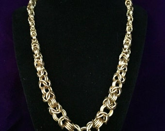 Golden Chainmaille Necklace - Jewelry Brass - Tapered Byzantine - Chainmail Jewelry