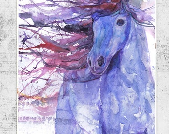 Horse art print, equestrian, equine, abstract horse painting, equine expressions, watercolor, horse lover, decor, wild horse gifts, dressage