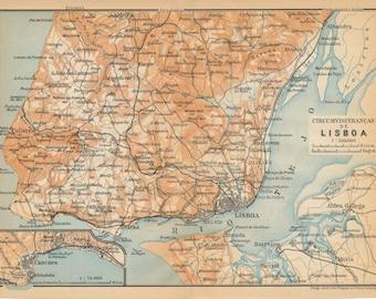 1911 Lisbon Portugal Antique Map