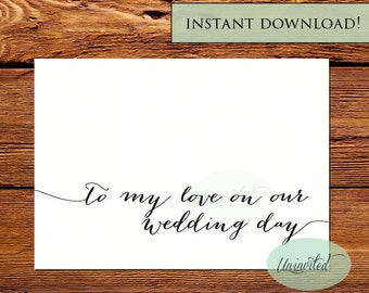 To my groom card - Instant download, to my bride, to my groom on our wedding day