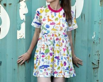 YUK FUN Birds and cacti all-over print T-shirt smock dress, summer dress, spring dress, birds dress, cactus dress, cute dress, cool dress