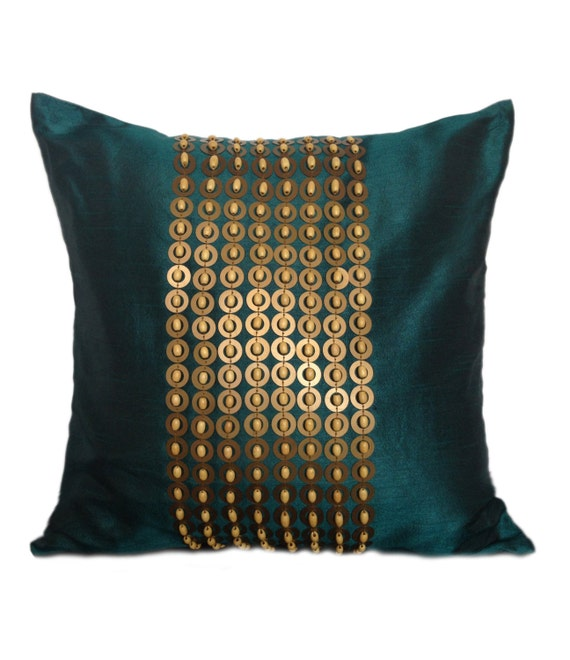 Items Similar To Teal Throw Pillow With Gold Sequin And