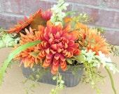 Vibrant Autumn Arrangement, Orange Floral Centerpiece in Metal Tin