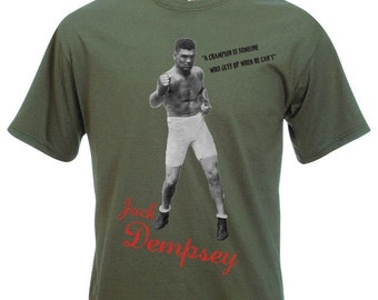 Jack Dempsey Photo T-shirt - Boxing Legend, ECO FRIENDLY PRINT, S - 2XL, Various Colours