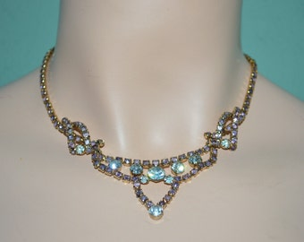 Necklace Vintage Rhinestone Princess Pink