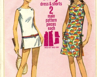 Simplicity 7091 - 1960s Button Shoulder Mini Dress with Side Slits and Shorts Pattern -  Size 12