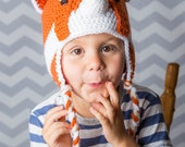 Crocheted red panda cap, knitted panda beanie, animal hats for babies toddlers kids adults, unisex