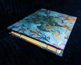 "10"" x 13"" Blue Purple Gold Suminagashi Japanese Wedding Coptic Guest Book, Photo Album Book Scrapbook Album"