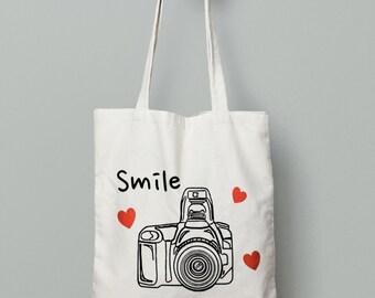 Camera Tote Bag - Shopping Tote Bag - Canvas Tote Bag - Printed Tote Bag - Cotton Tote Bag - Large Canvas Tote- Library Bag -Photography Bag