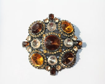 Vintage Amber White Rhinestone Round Brooch Pin Costume Statement Victorian Style Jewelry
