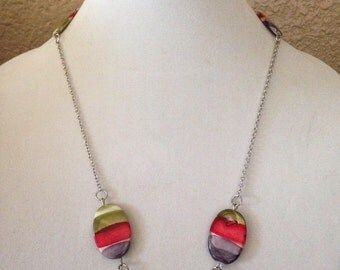Shell necklace, purple necklace, pink necklace, green necklace, chain necklace, beaded necklace